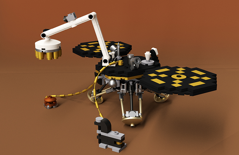 La sonde InSight en LEGO (© Whatsuptoday).