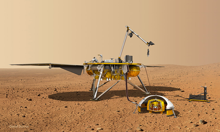 The InSight probe on the Martian surface, with its payload deployed (© David Ducros).
