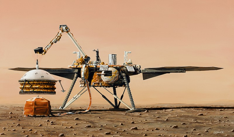 Artist's concept of the InSight lander (© IPGP/Manchu/Bureau 21).