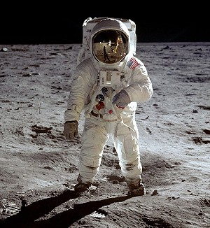 Portrait de l'astronaute Buzz Aldrin durant la mission Apollo 11 (© NASA)
