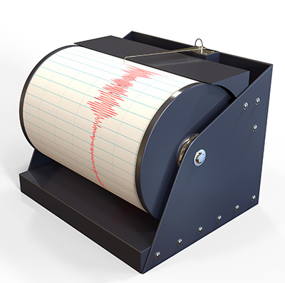 Recording of a seismic signal (© Adobe Stock).
