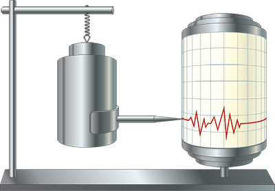 Principle of operation of a seismometer (© Adobe Stock).