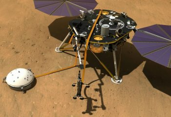 The InSight probe's robotic IDA setting down HP3 (© NASA).