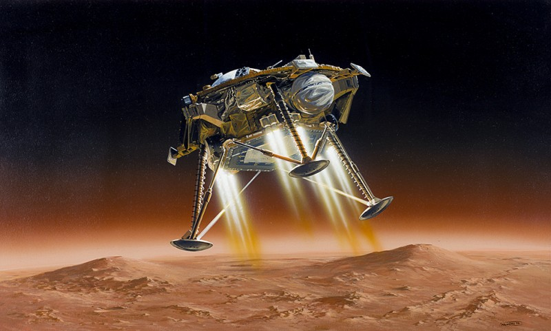 Artist's view of the InSight probe during its final (powered) landing stage on Elysium Planitia. To brake its descent, the spacecraft is fitted with three groups of pulsed retrorockets, each developing a thrust of around 300 newtons. Although by definition it is very sensitive to the least vibration, the SEIS seismometer has been designed to withstand the very violent bangs and bumps associated with a Mars landing (© IPGP/Manchu/Bureau 21).