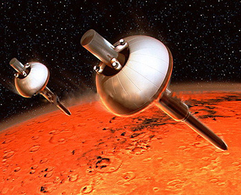 Artist's impression of the Mars 96 mission penetrators (© CNES/David Ducros).