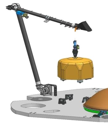 3D graphic representation of the IDA in the process of lifting the SEIS seismometer (© NASA).