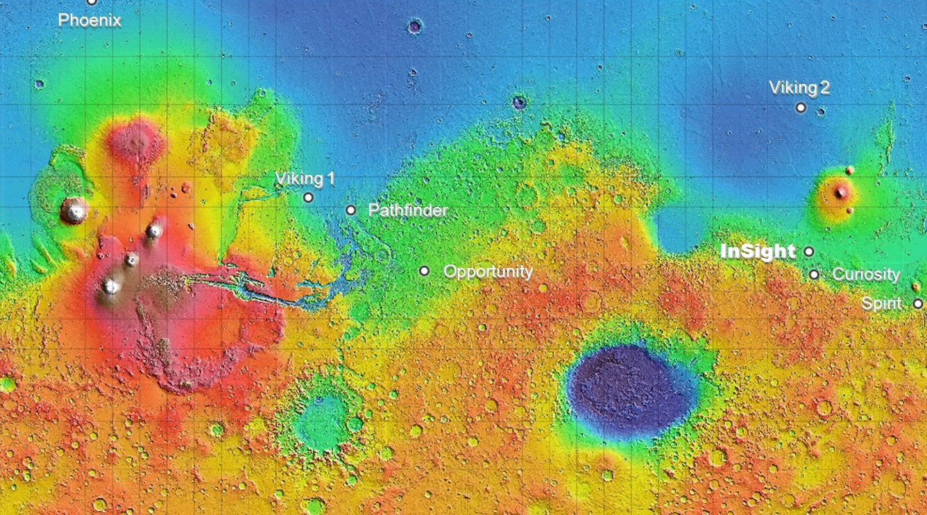 Topographic map of mars with lander locations.