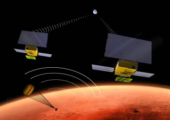 Artist's impression of the two Mars Cube nanosatellites in the process of relaying data during InSight's landing phase (© NASA/JPL).