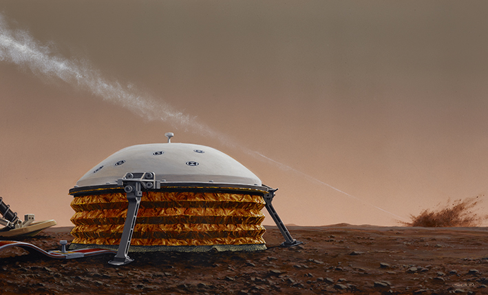 Artist's impression of a impact on Mars near the InSight probe (© IPGP/Manchu/Bureau 21).