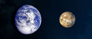 Earth and Mars seen from space. The diameter of Mars is half that of the Earth and its surface is entirely solid (© NASA).