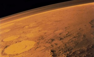 The Martian atmosphere (seen here from the side) is very thin and unbreathable (© NASA).