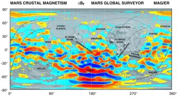 Map of Mars' crustal magnetic anomalies: a residual magnetic field testifying to the action of a dynamo at the very start of the planet's history, exists in the southern hemisphere. Its activity clearly decreases in the northern regions  (© Connerney, J.E.P. et al., (2005) Proc. Natl. Acad. Sci. USA, 102, N°42, 14970-14975).