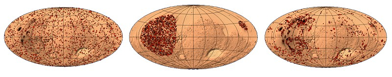 Three possible scenarios as to the geographical location of marsquakes: from left to right, uniform distribution over the Martian globe; clustering in the volcanic provinces of Tharsis and Elysium; or a non-uniform distribution (©rights reserved).